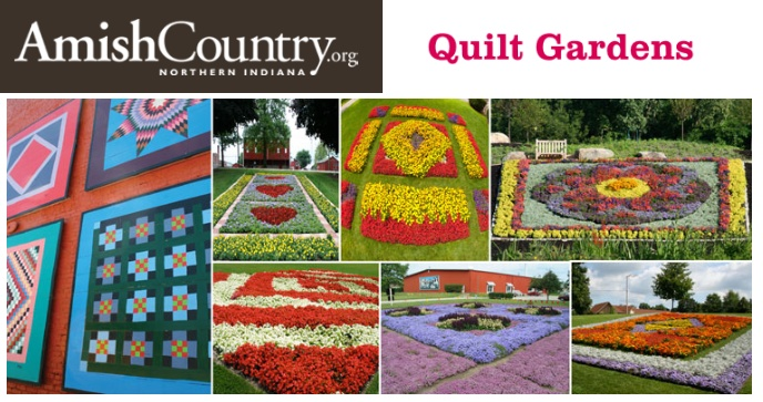 Quilt Gardens in Amish Country -  Elkhart Indiana May 30 - October 1 each year.  19 gigantic gardens and 20 hand-painted super-sized murals  see website