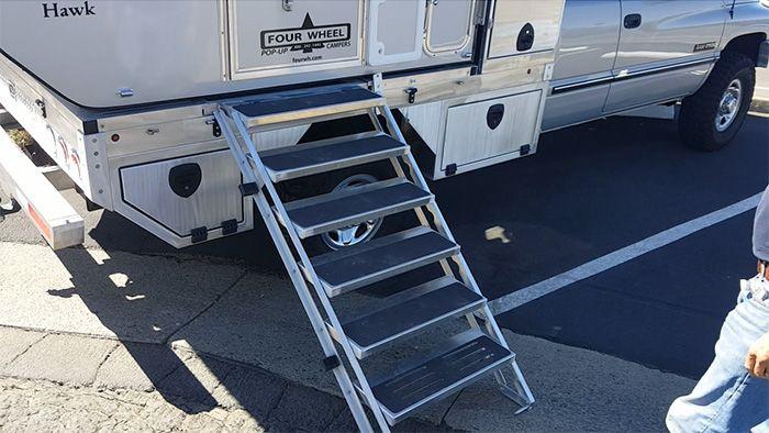 custom slide-out aluminum camper stairs | Pickup camper