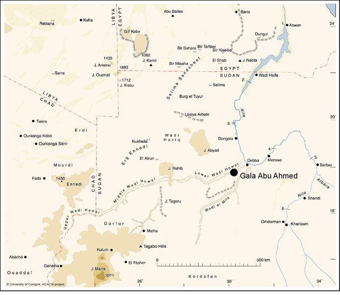 The location of the fortress Gala Abu Ahmed in lower Wadi Howar, Sudan http://www.fstafrika.phil-fak.uni-koeln.de/9263.html