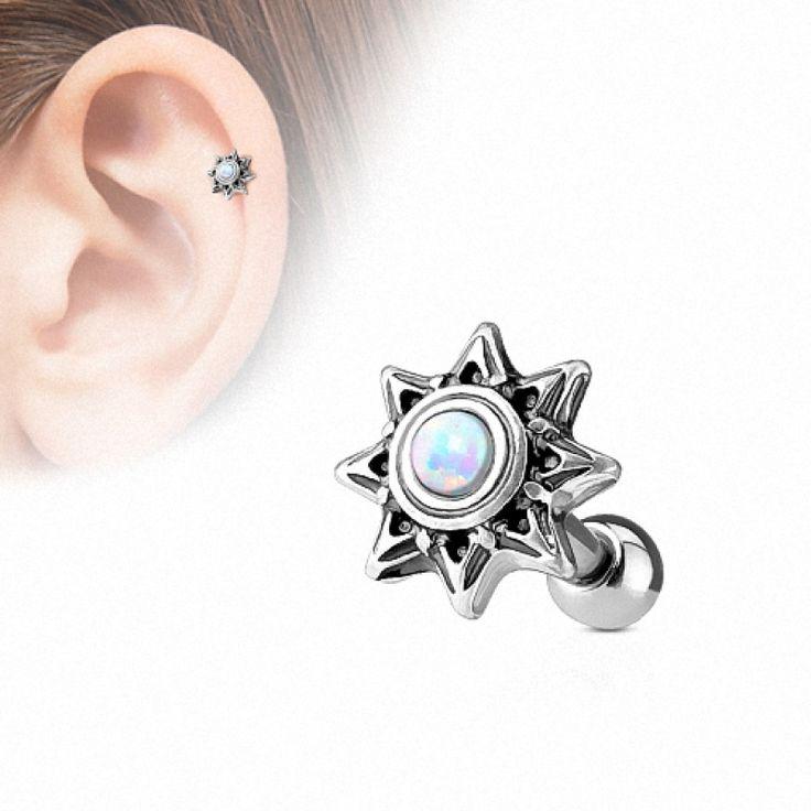 Tragus Cartilage Ohr Piercing Stecker Stern mit farbigen Opal