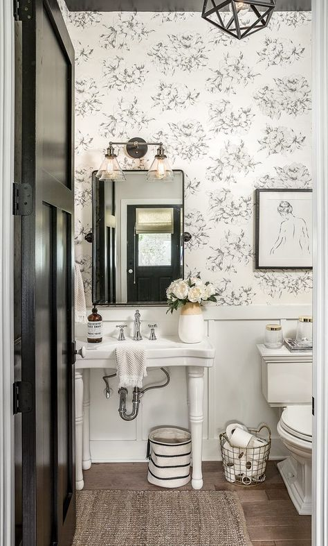 chicago toile wallpaper black and white with undermount bathroom sinks powder ro…