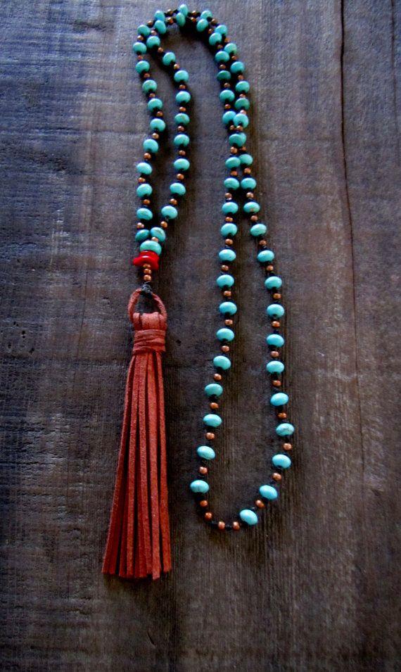 Lange Quaste Halskette Boho Halskette Türkis Boho von TwigsAndLace