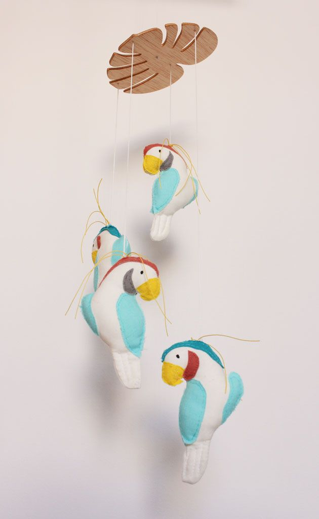 tropical parrots mobile by hersin means made by hand