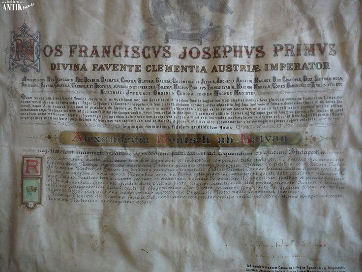 Antik Bazár Sk   PERGAMENOVA LISTINA FRANTISKA JOZEFA I. - Predaj