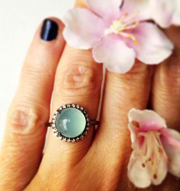 chrysoprase & diamond candy ring