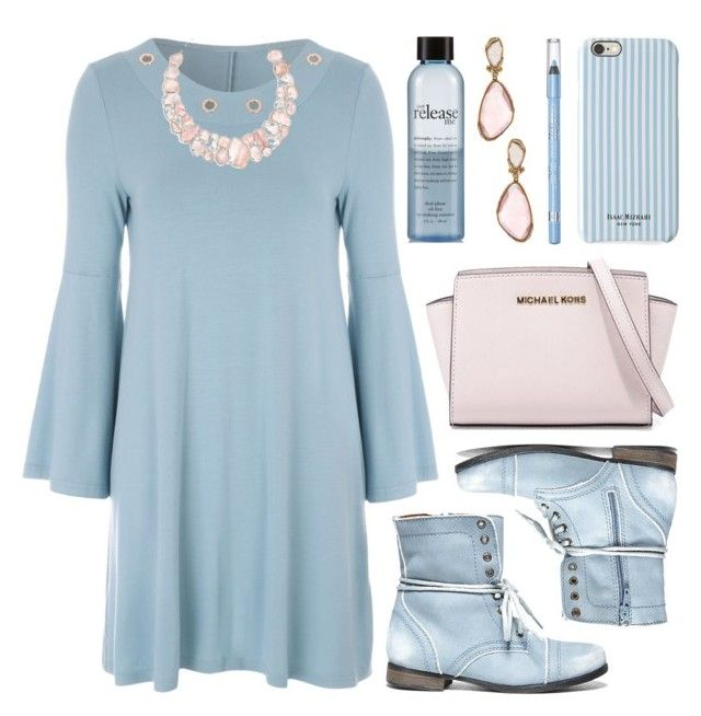 """""""New Trend: Bell-Sleeve Dress"""" by lgb321 ❤ liked on Polyvore featuring Jane Norman, philosophy, Isaac Mizrahi, Rimmel, MICHAEL Michael Kors, Mark Broumand and Steve Madden"""