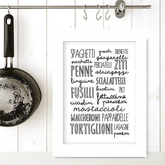 La pasta italian kitchen poster kitchen art by for Italian kitchen prints
