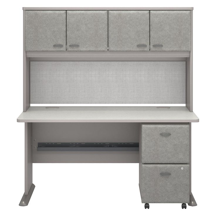 Series A Office Desk with Hutch and 2 Drawers Mobile Pedestal