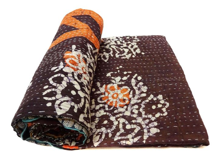 Vintage Kantha Quilt Handmade Indian Cotton Bedspread Blanket Bedding Throw. Dimension :86 X 58 inches, 218.44 X 147.32 cm Weight: 0.74 kg,1.63 lbs Model: GE18 Vintage kantha quit has different beautiful warm and charming colours, designs and patterns on either side which gives a distinct look & thus can be used both sides (REVERSIBLE). These quilts are famed and admired due to their Kantha work. These quilts are very kid friendly; kids actually love it with its color and cool pattern....