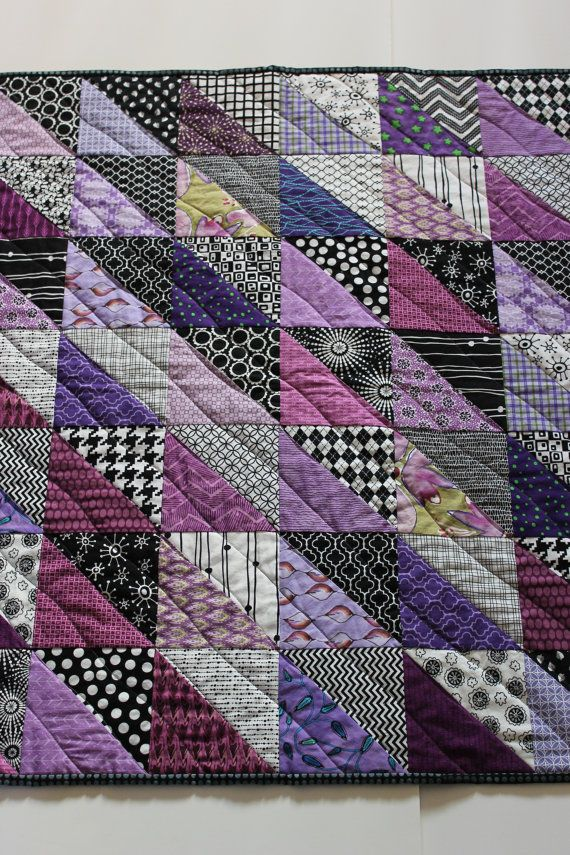 "Modern Baby Quilt ""Sean"" Contemporary Geometric Triangle Pattern in Purple; Baby, Toddler, or Lap Quilt, Play Mat; Wall Hanging by iheartbabyquilts, $89.00"