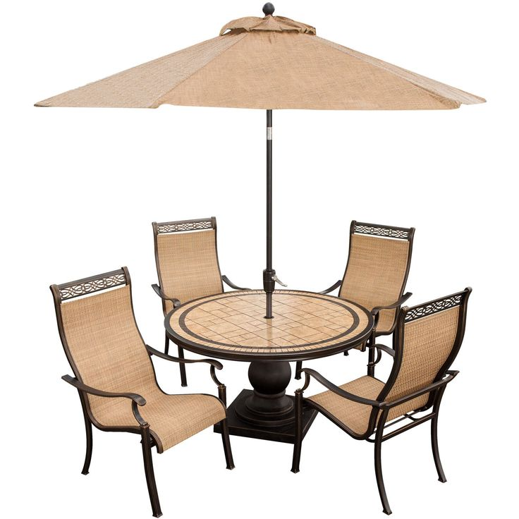 Hanover MONACO5PC SU Monaco 5 Piece Outdoor Dining Set With Umbrella (Tan),  Size 5 Piece Sets, Patio Furniture (Natural Stone)