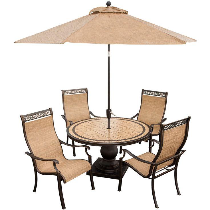 Hanover Monaco 5 Piece Outdoor Dining Set With Umbrella (Tan), Size 5 Piece  Sets, Patio Furniture (Natural Stone)