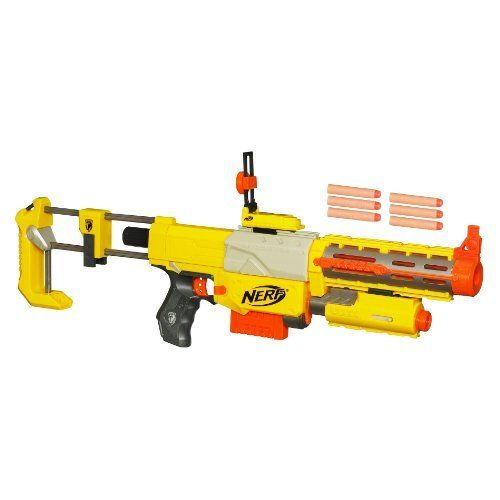 Nerf N-Strike Recon CS-6 Dart Blaster by Nerf. $33.93. From the Manufacturer                Build your own blaster with five interchangeable parts that you can take apart and reassemble any way you want. Add the flip-up sight for aiming precision and the dual-mode light beam with red-dot accuracy that's perfect for night missions. The shoulder stock to steadies your shot and stores an extra clip of ammo (sold separately).                                    Product Description...