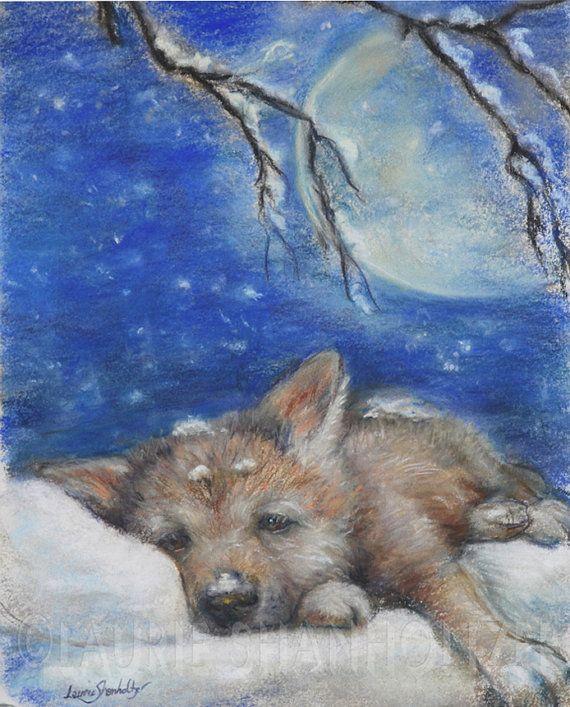 Wolf Cub Original Art Pastel Painting Nursery Decor