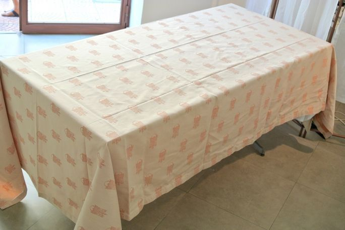 Tablecloth rust/beige of Il Gioiello Tablecloth double face, with 12 napkins made with fabric 100% cotton