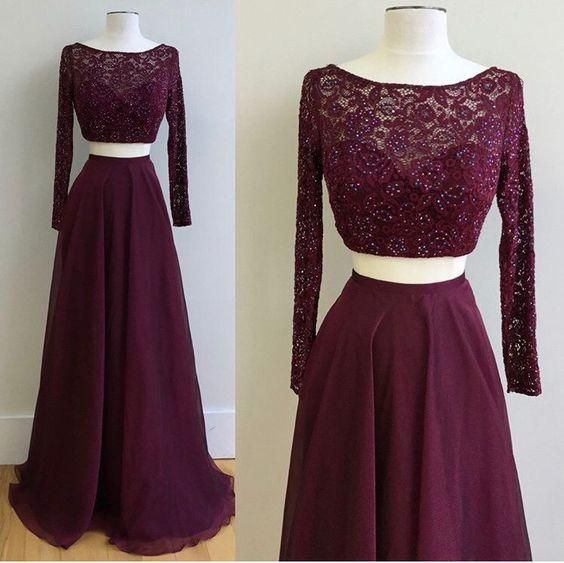 two pieces eggplant lace long sleeves prom dress, PD545  #promdress #fashion #shopping #dresses #eveningdresses #2018prom