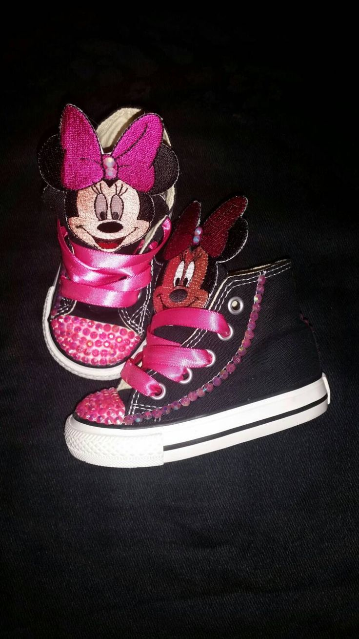 Size 4C- Minnie Mouse Custom Converse- Infant- Baby- Toddler- Crystal Studded- Birthdays- Special Occasions- Pictures- Black Converse by DivineKidz on Etsy