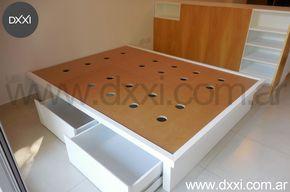 Buenos Aires, Argentina. Muebles diseñados y fabricados por DXXI, Buenos Aires, Argentina #dxxi #deco #furniture #interiors #design #cama con cajones #bed with drawer #mueble Divisor #monoambiente #small apartment