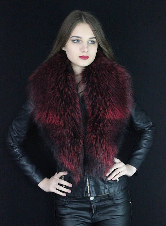 Red Raccoon Fur Collar dyed raccoon