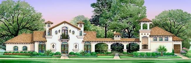 Villa di vino courtyard house plan small luxury house for Small spanish style house plans