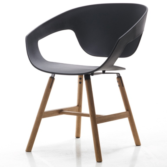 Black and timber dining chair