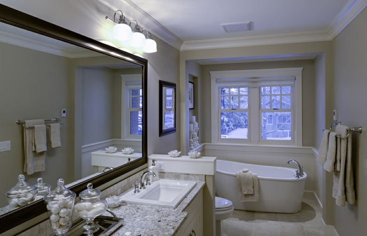 white, bright with granite counters and separate tub | Calgary