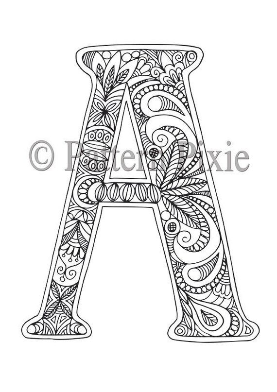 Adult Colouring Page Alphabet Letter A Alphabet Coloring Pages