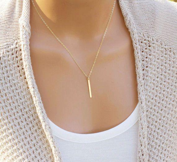 Gold Bar Necklace Skinny Bar Necklace Dainty Necklace by CVennell