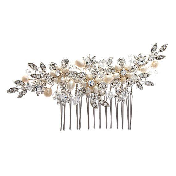 Freshwater pearl and rhinestone wedding hair comb