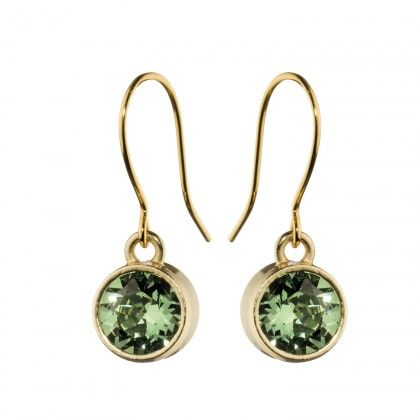Kalevala Koru / Kalevala Jewelry / Hehku-korvakorut / Glimmer Earrings / Design Antonio Mazzamauro / Bronze & Green Swarovski glass