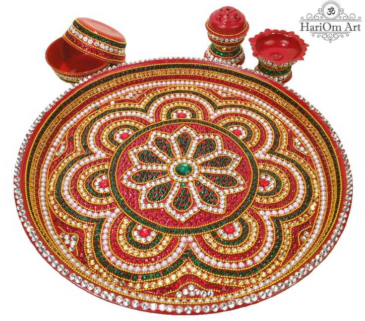 Pooja thali decorated with pearls and diamonds by HariOm Art