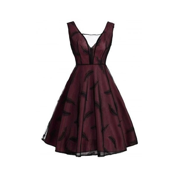 Wine Red 2xl Feather See Thru Mesh Panel Vintage Dress ($22) ❤ liked on Polyvore featuring dresses, wine dress, mesh insert dress, feather dress, wine red dress and purple dresses