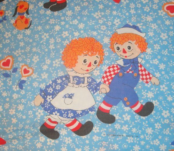 VINTAGE RAGGEDY ANN AND ANDY FULL FITTED BED SHEET FABRIC BLUE FLORAL HEARTS #BobbsMerrillCo