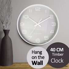 40CM Timber Clock Grey or White Home Decoration Hang on the Wall Round