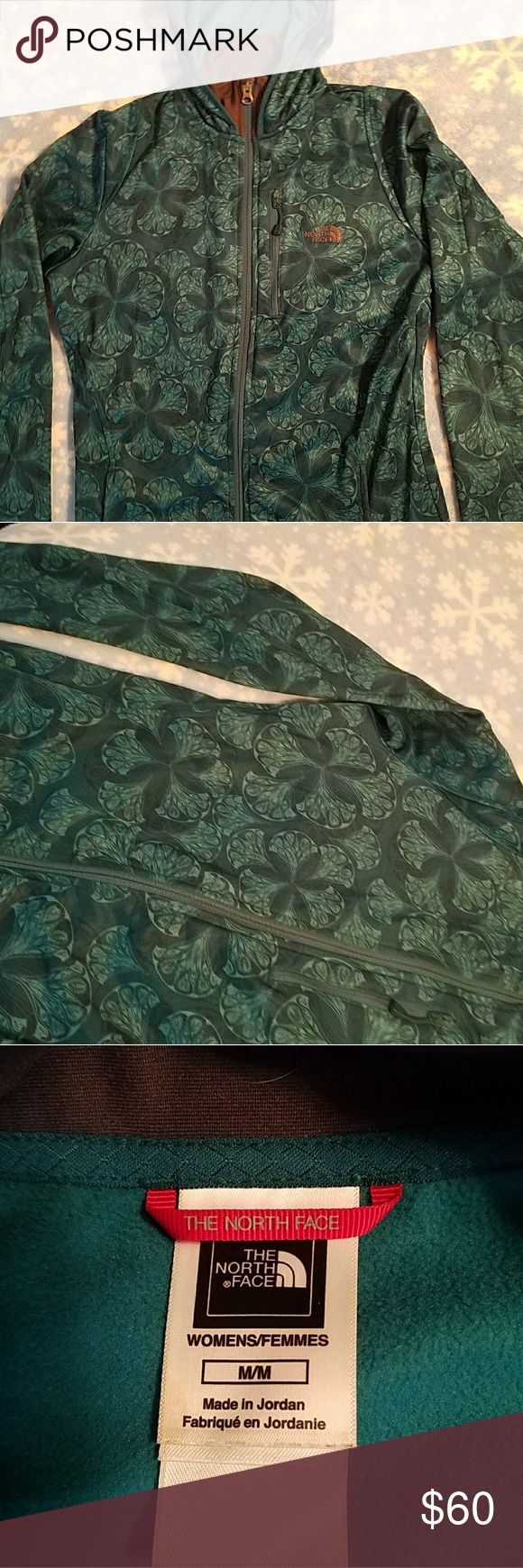 North Face Hoodie Beautiful teal patterned womens hoodie jacket. Collar trim is actually grey, not brown. Excellent condition! The North Face Tops Sweatshirts & Hoodies