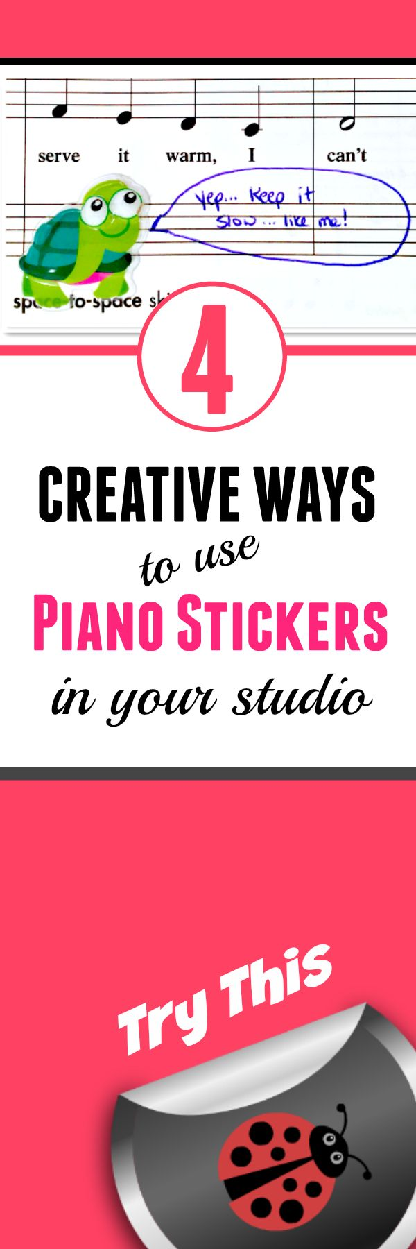 Everyone loves stickers... and piano teachers will love them even more when you realize how they can be used as a teaching tool... not only as a reward! #StickerMania #PianoTeacherTips #GetCreativeGetResults