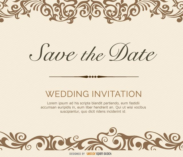 Here is a beautiful wedding invitation with thick swirl ornaments of the top and bottom of design and a central ornamental line with tittle and details of invitation above and below it. High quality JPG included. Under Commons 4.0. Attribution License.