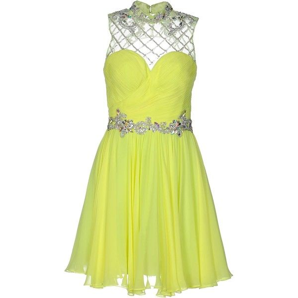 Forever Unique Short Dress ($478) ❤ liked on Polyvore featuring dresses, yellow, sequin mini dress, sleeveless cocktail dress, sleeveless dress, yellow sequin dress and short dresses