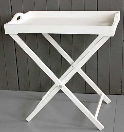 White Wood Tray Table - £45.00 - Hicks and Hicks