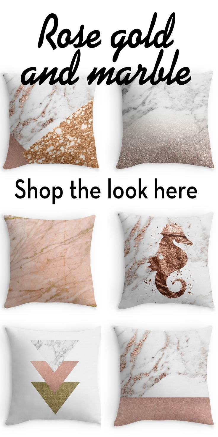 Shop the latest collection of throw pillows featuring unique rose gold and marble designs.