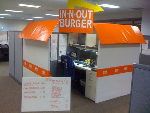 cubicle costume in n out burger - Cubicle Decorations