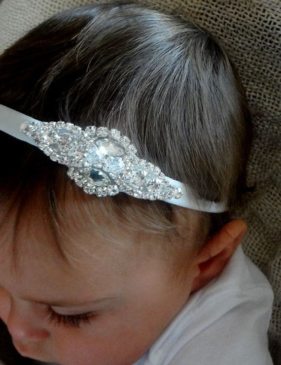 Baby girl christening headpiece flower girl by Tatishotties