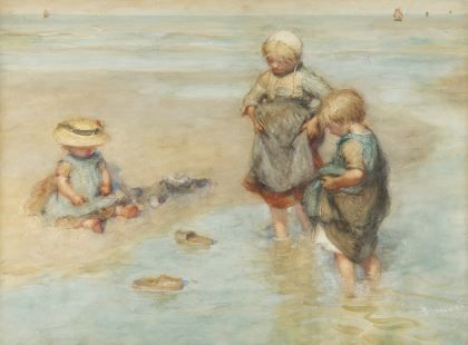Bernardus Johannes Blommers (Den Haag 1845-1914) Children playing boat - Dutch Art Gallery Simonis and Buunk Ede, Netherlands.
