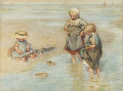 Bernardus Johannes Blommers (Den Haag 1845-1914) Children playing boat - Dutch Art Gallery Simonis and Buunk Ede, Netherlands.