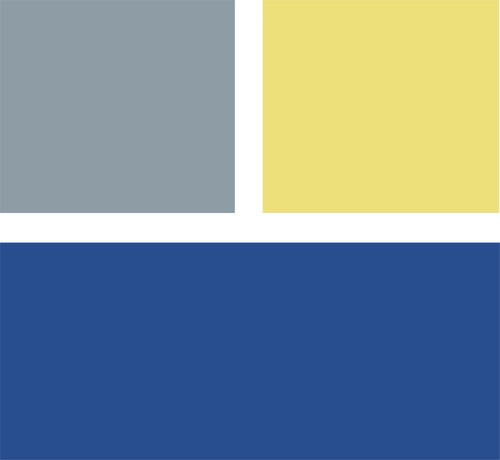 This shade of blue is intense, but adding in a cool gray takes off a bit of the edge. Add a dash of yellow for more drama. Clockwise from top left (all from Mythic Paint): Quiet Cameroon 136-3, Sunny Spot 083-5 and By the Sea 028-6.