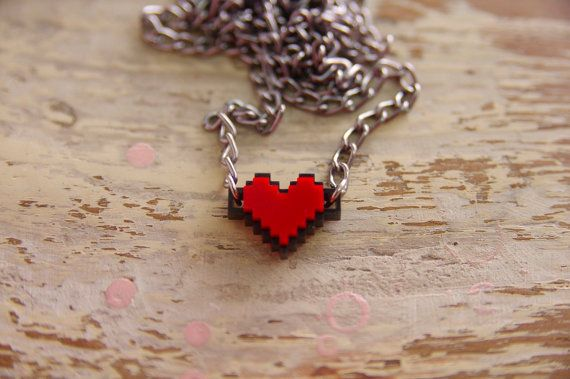 Pixel Heart Acrylic Necklace and Pandent for couple and gamer 8 bits design for Zelda gamer