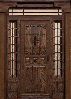 Puerta de entrada rústica a medida en madera maciza de pino, teñidacon acabados en barcies al agua y envejecida con clavos y forja en ambos fijos y montante.