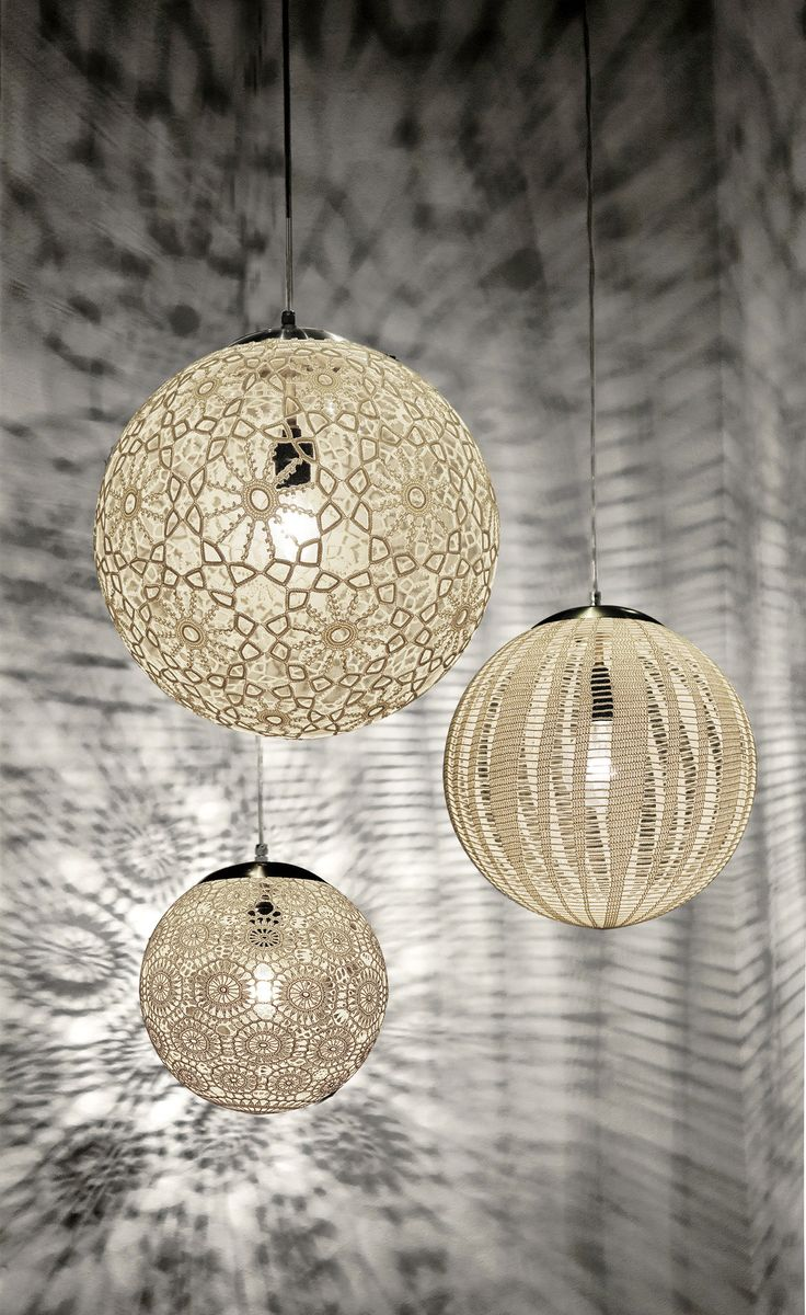 Handcrafted in Mexico, Liz Lamps are individually hand-crocheted to achieve this amazing patterns. The result? A delicate-looking, airy lamp capable of enhancing any space. Details and Dimensions - Co