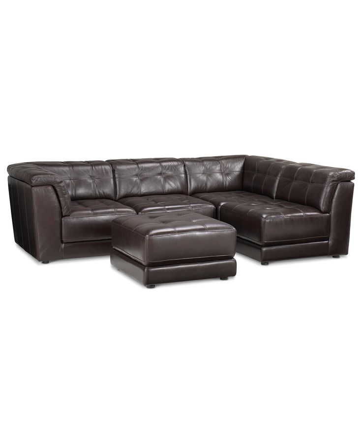 Stacey Leather Sectional Sofa 5 Piece Modular Pit 2