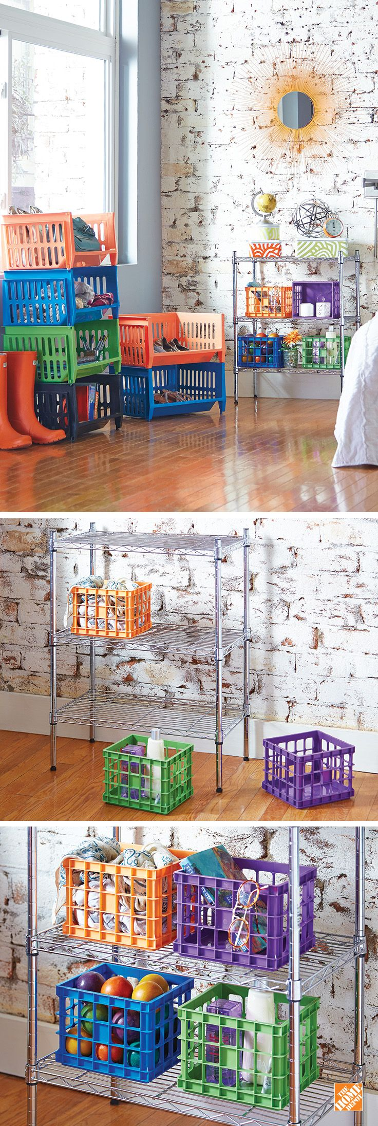 Decorating your home or office can be functional too. With these multicolored stackable baskets and crates, you can organize items while also adding a bit of creative flair. Stack them high or keep them low. You can even create a makeshift chest of drawers by storing the crates on a small shelving unit. Click through to see these and other storage solutions at The Home Depot!